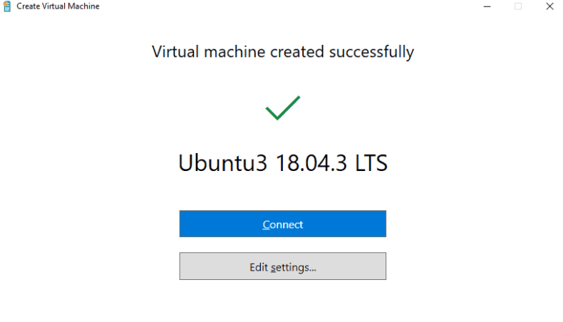 Hyper-V Quick Create completed confirmation screen