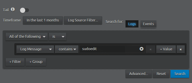 WebUI Search Log Message containing sudoedit