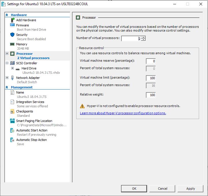 Settings screen for Ubuntu3