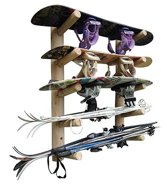 log ski snowboard racks custom