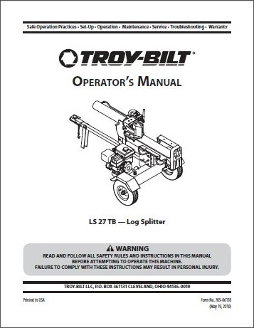 Troy-Bilt Log Splitter Owners Manuals