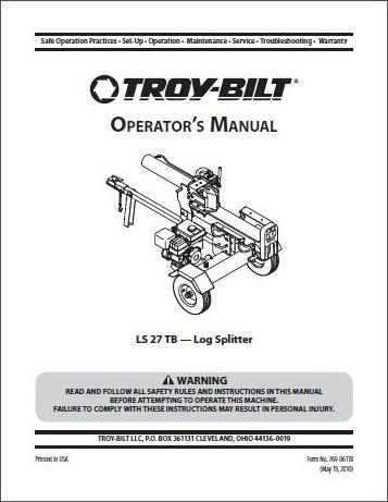 Troy-Bilt Log Splitter Owners Manuals