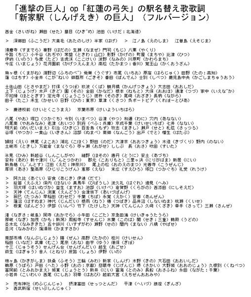 「進撃の巨人」op「紅蓮の弓矢」の駅名替え歌歌詞・フル ...