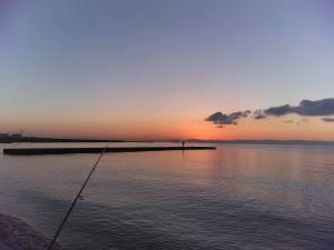 須磨浦の景色。伸びる突堤にはだいたい釣り人が陣取っております。