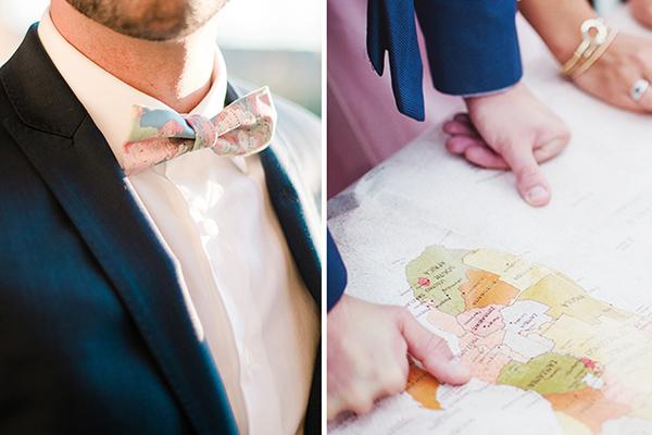 Double photo présentant une carte ainsi qu'un noeud papillon imprimé carte