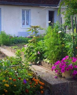 veuil village fleuri en face mairie de Veuil à coté du château de Veuil