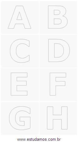 Letras Grandes do Alfabeto do A até H. Imagens Para Serem