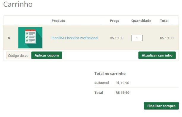 Carrinho de compras Excel Easy