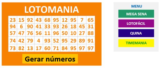 Planilha Gerador de Números da Lotomania