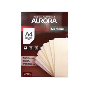 Plástico para Plastificação Aurora A4 125 Micras – 20 folhas
