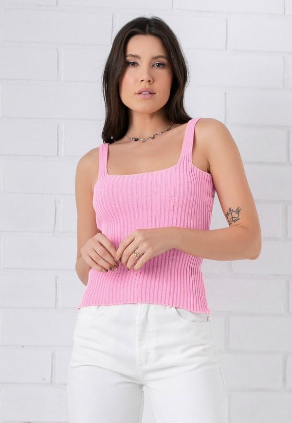 blusa feminina tricot rosa trico fofa regata verão comprar moda direto fabrica estilo gringo atacado varejo