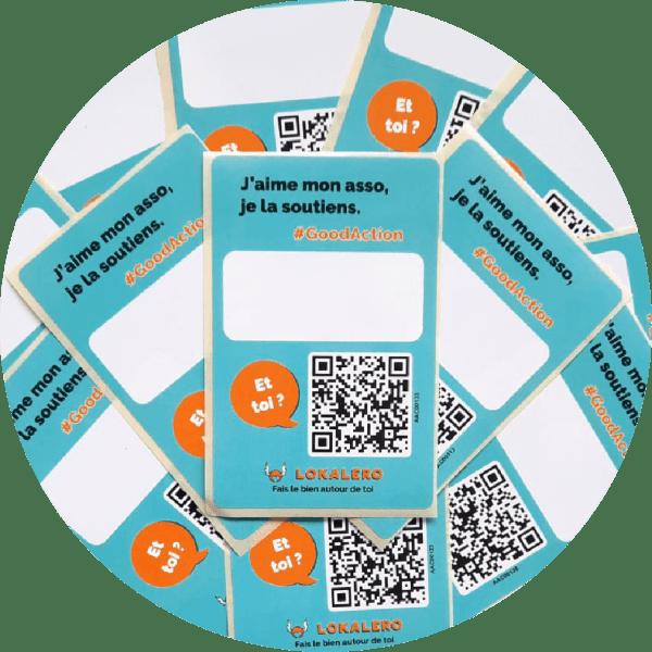 Stickers QR Code LOKALERO - lot de 50 - zone blanche pour écrire à la main