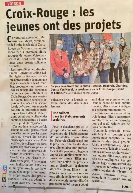 Le Dauphiné Libéré - Voiron - journal local - Croix Rouge les jeunes ont des projets