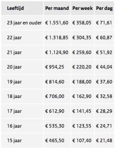 Afbeelding tabel minimumloon 2017