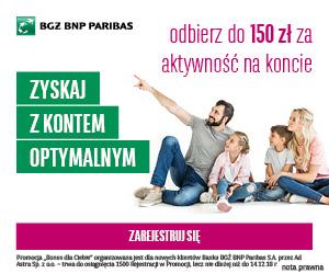 BGŻ BNP Paribas Konto Optymalne 150 zł premii - Bonus dla Ciebie