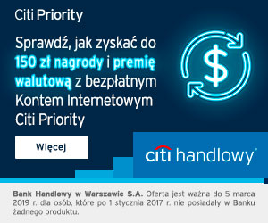 Citi Handlowy Konto Citi Priority +150 zł premii