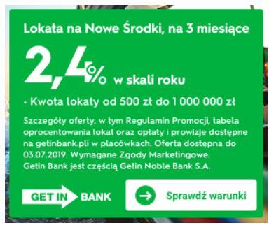 Getin Bank e Lokata na NOWE ŚRODKI