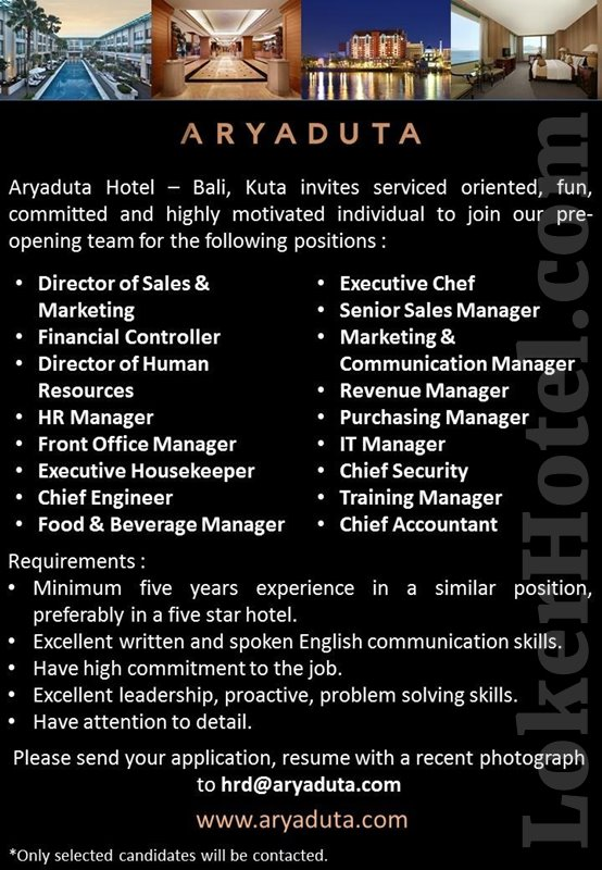 Aryaduta Hotel Bali  Pre Opening Team  LokerHotelcom