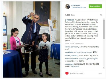 White House Photographer Pete Souza posted this.