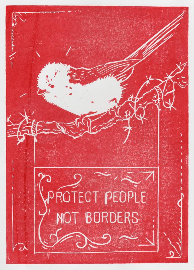 Linogravure rouge représentant un oiseau sur un panneau pro-migrant