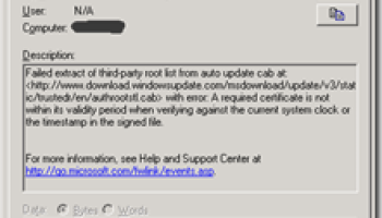 Local System Certificate store pooched after windows update