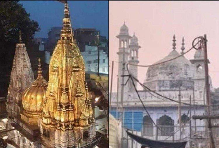 काशी विश्वनाथ मंदिर और ज्ञानवापी मस्जिद।