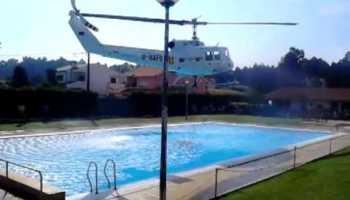 Helicóptero usa piscina em Braga para abastecer de água