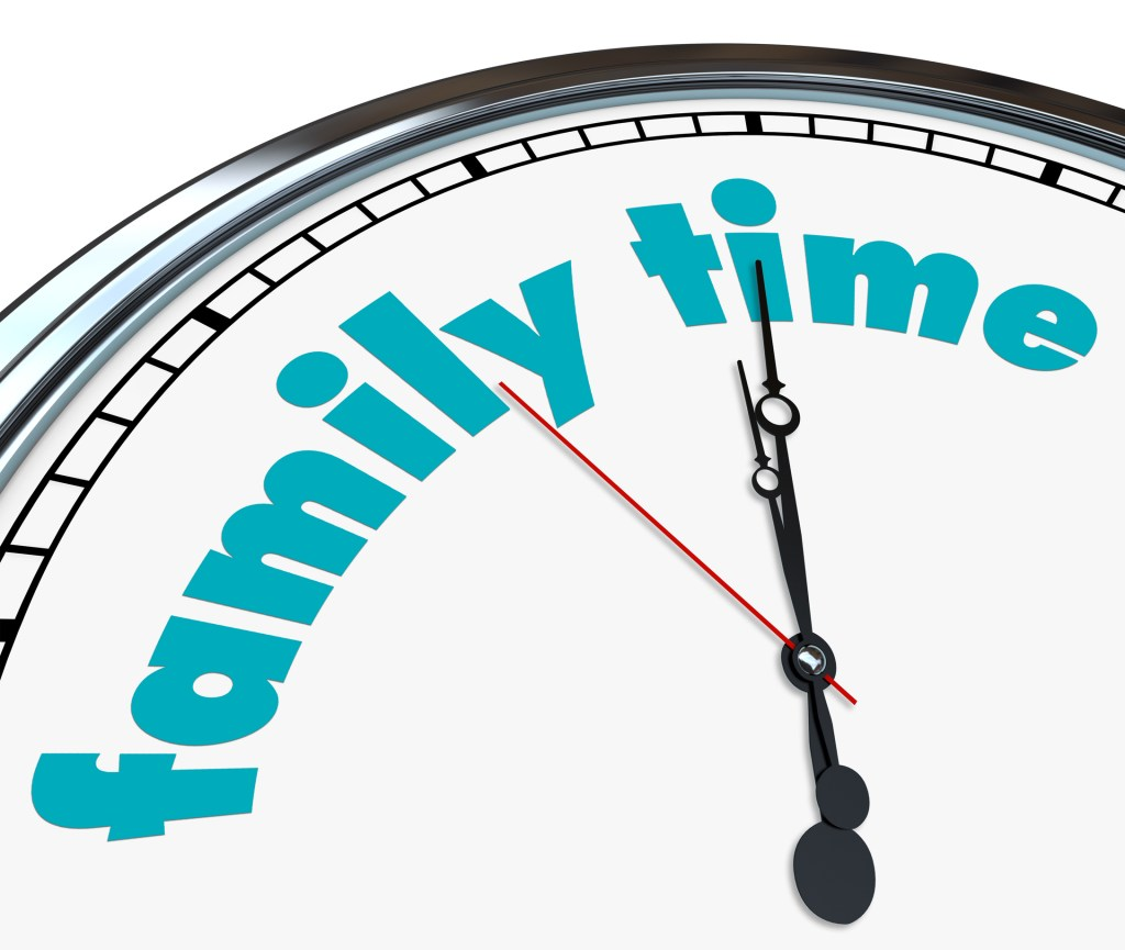 An ornate clock with the words Family Time on its face