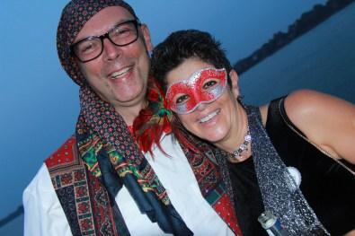 Mardi Gras party goers Rob Hallsworth & Lisa Hallsworth