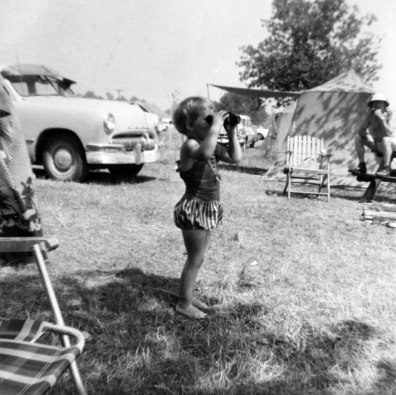 Lola bird watching at an early age - camping with Grandparents 1958