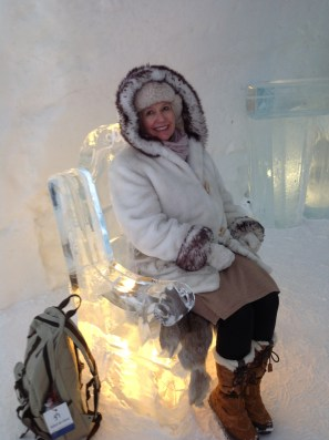 Lola on ice chair, Hotel de Glace, Quebec 2013