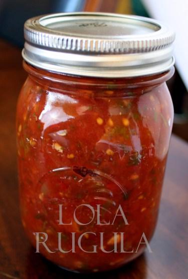 lola rugula chunky salsa canning recipe