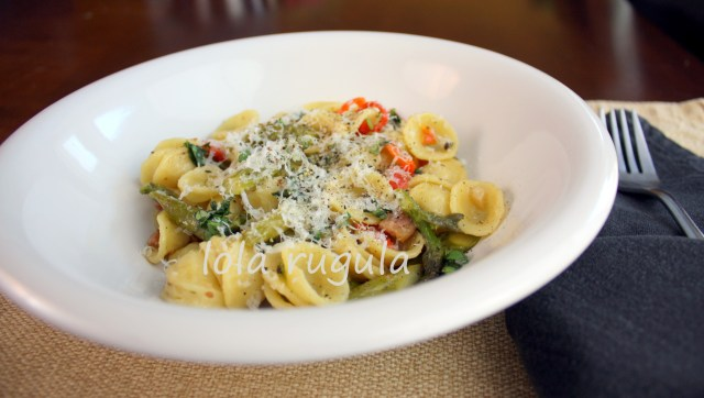 easy orecchiette with pancetta and asparagus recipe