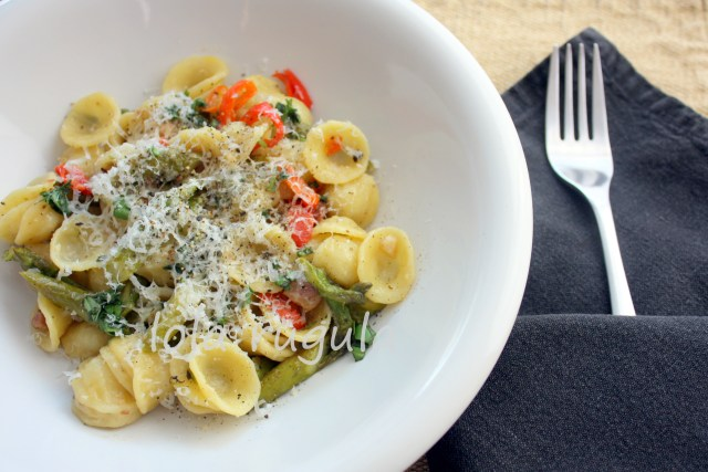 orecchiette with pancetta and asparagus recipe