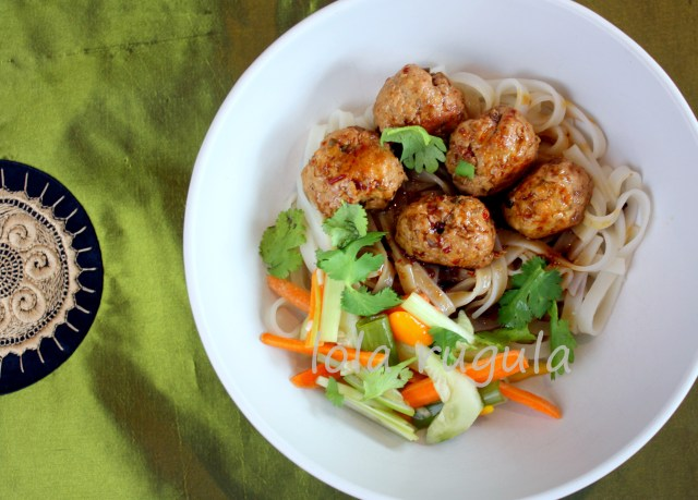 lola rugula asian inspired pasta and meatballs