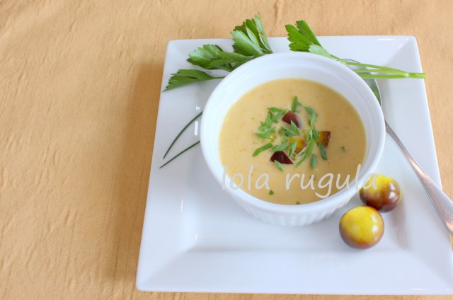 lola rugula easy gazpacho with heirloom cherry tomatoes