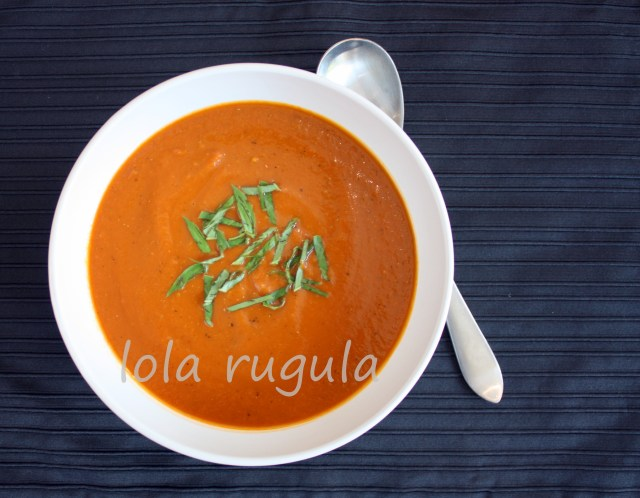 lola rugula roasted tomato and garlic soup