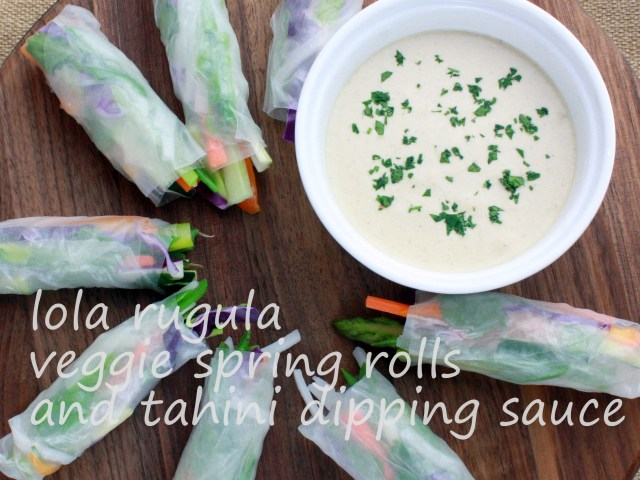 lola rugula spring rolls with tahini dipping sauce appetizer