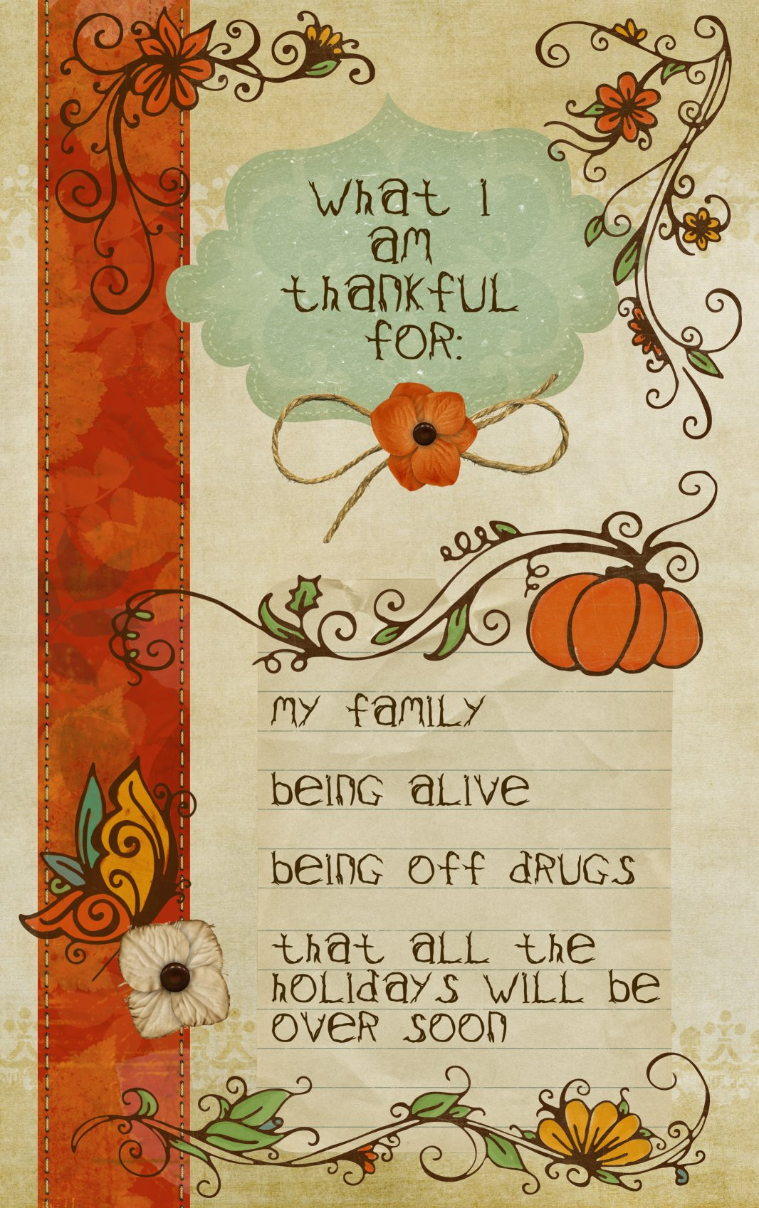 What I Am Thankful For Poster
