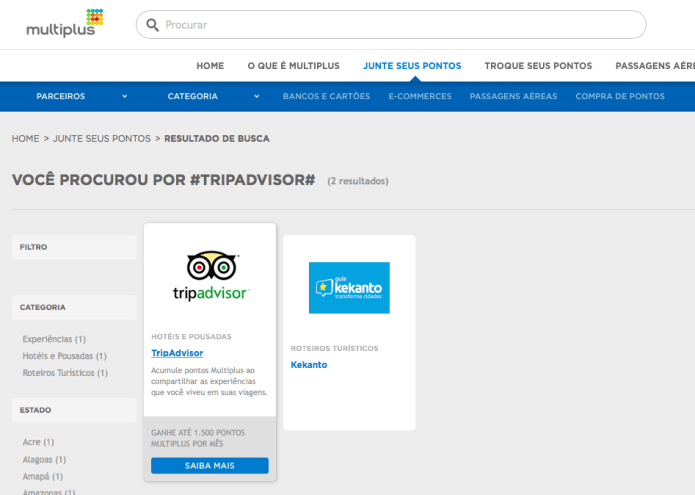 Busca TripAdvisor - milhas Multiplus