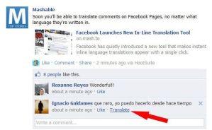 servicio traducción automático facebook