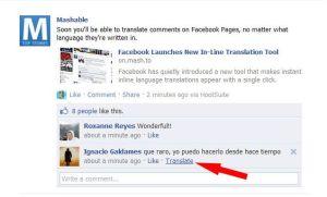 servicio automático  traducción facebook