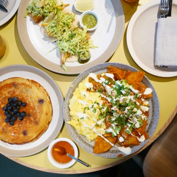 Chilaquiles, fish tacos, blueberry pancakes
