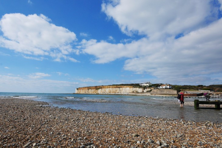 Barefoot at Cuckmere Haven, Seven Sisters Chalk Cliff Hike