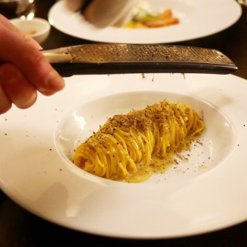 Handmade Pasta with Shaved Truffle at Italian Restaurant Aromi Prague