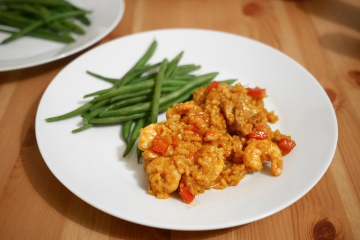 Homemade Spanish Paella-Style One-Pot Chicken & Shrimp Rice with green beans