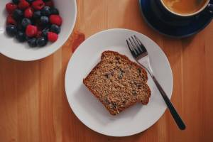 Homemade healthy banana bread breakfast slice