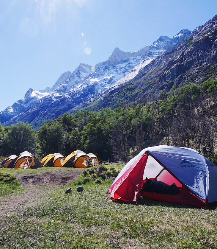 Camping at Campsite Grey, Torres del Paine, MSR Tent