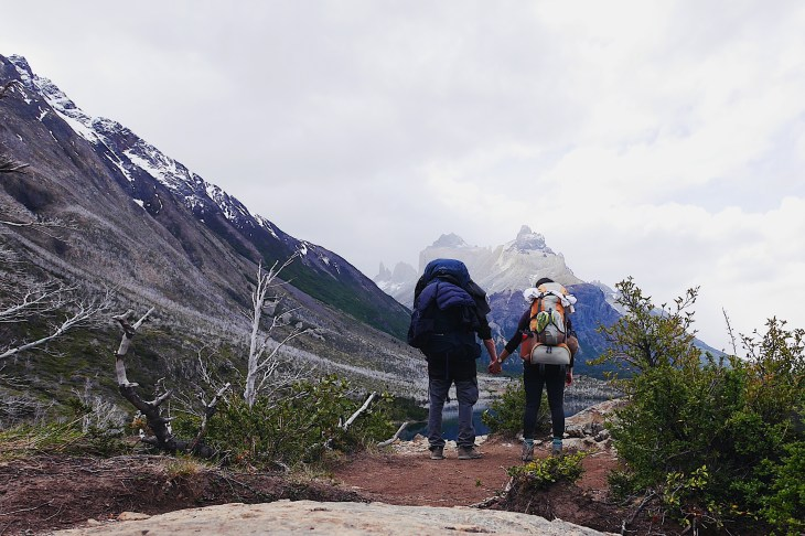 backpacks hiking on w-trek torres del paine patagonia chile