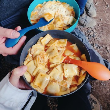 Ravioli with pink sauce and parmesan camping